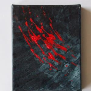 Peinture représentant une griffure rouge sur fond gris