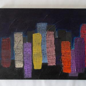 Peinture représentant des immeubles colorés
