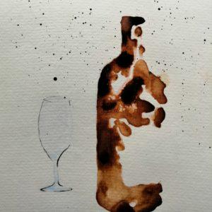 bouteille de vin et verre à l'aquarelle