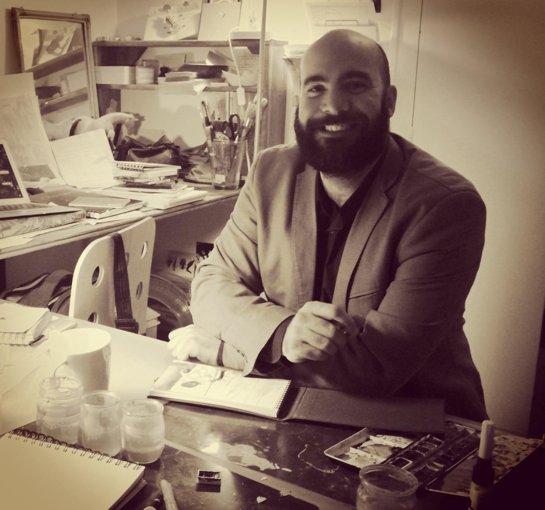 Simon B et ses tableaux, dans son atelier de Mérignac